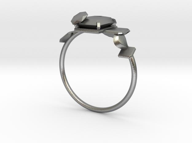 Anello Castone Geometrico3bc in Natural Silver