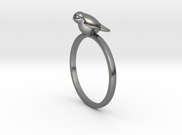 Bird Ring in Polished Silver: 7 / 54