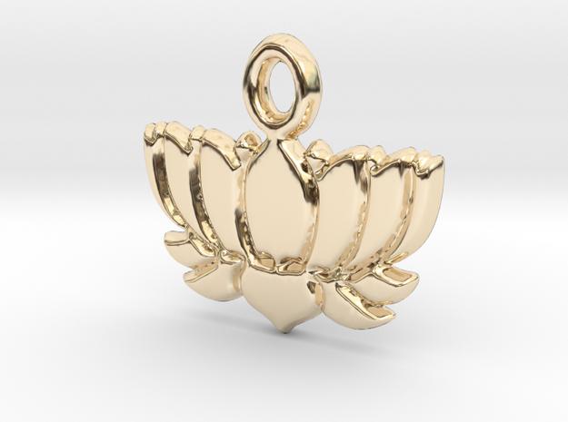Lotus Flower Yoga Pendant in 14k Gold Plated Brass