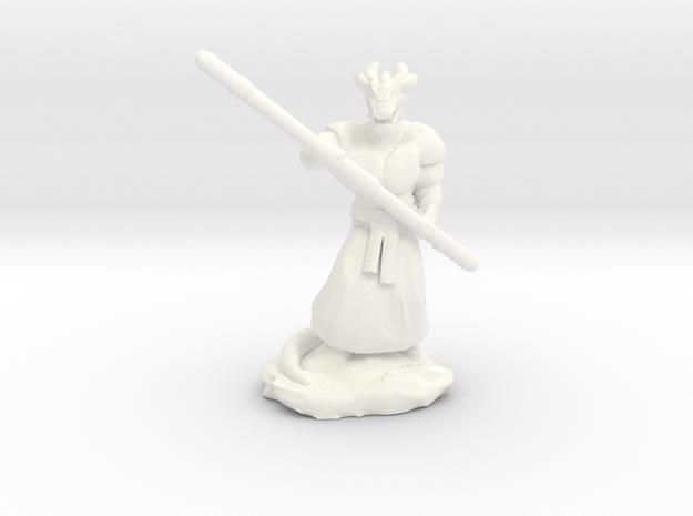Muscular Dragonborn Monk with Quarterstaff  in White Processed Versatile Plastic