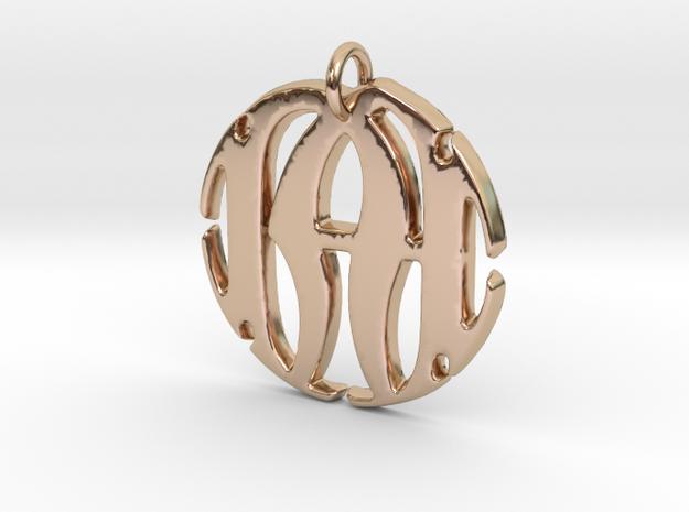 Monogram Initials NA Pendant in 14k Rose Gold