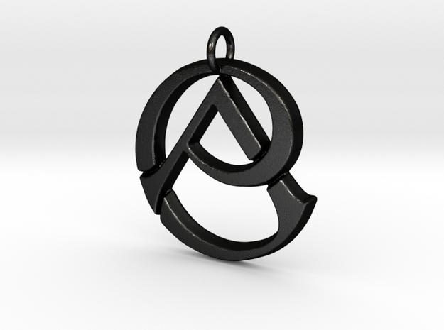 Monogram Initials CA Pendant  in Matte Black Steel