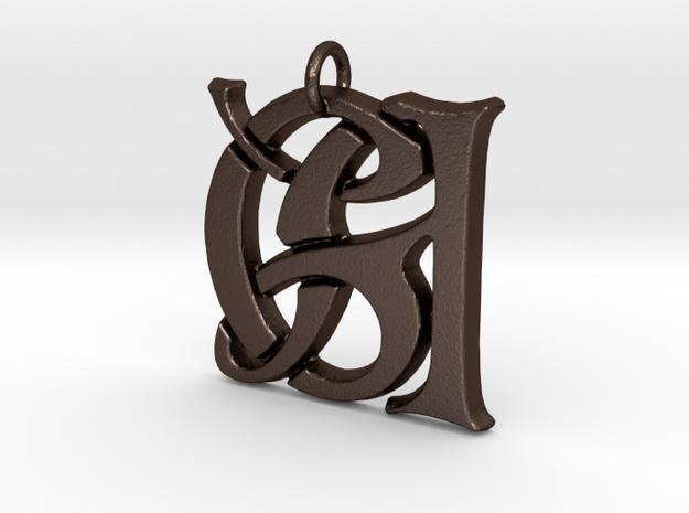 Monogram Initials GA Pendant  in Matte Bronze Steel