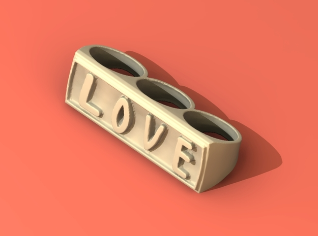 Three finger rings ~LOVE~ 3d printed