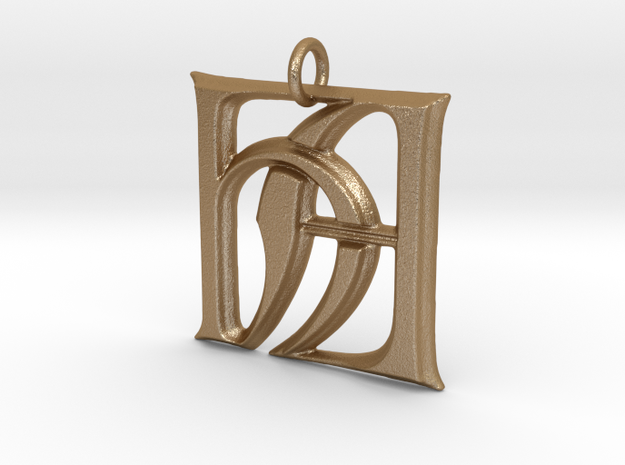 Monogram Initials HA Pendant  in Matte Gold Steel