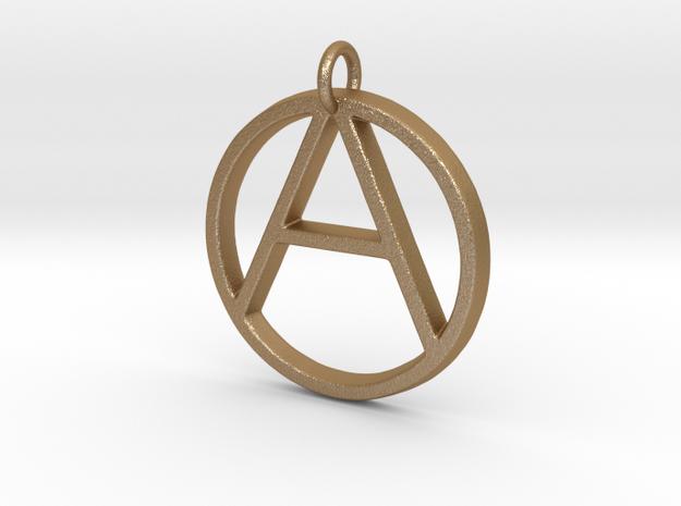 Monogram Initials AO Pendant  in Matte Gold Steel