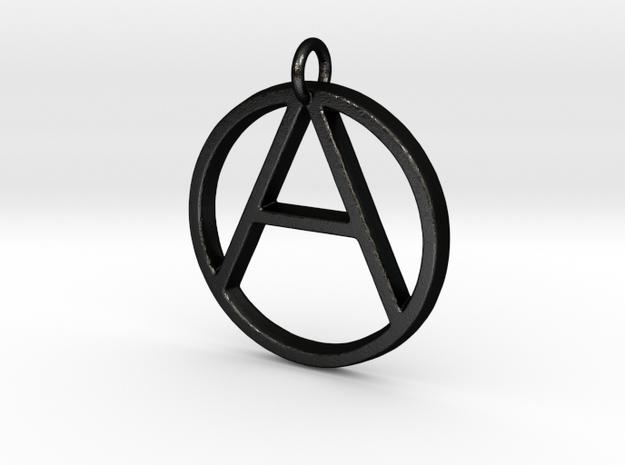 Monogram Initials AO Pendant  in Matte Black Steel