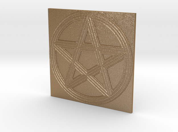 Grooved Pentacle Tile by ~M. in Matte Gold Steel