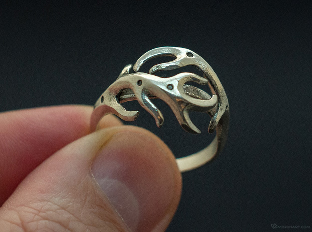 Antlers ring in Polished Silver