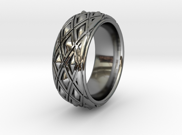 X SPIKE RING  in Fine Detail Polished Silver: 9 / 59