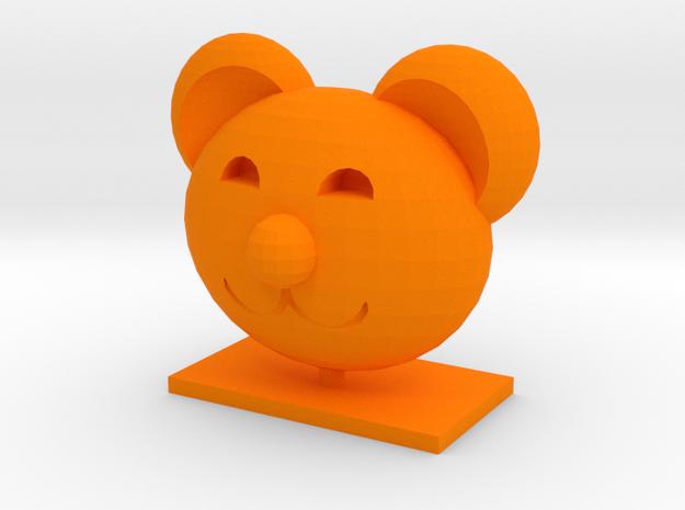 Teddy Bear Head in Orange Strong & Flexible Polished