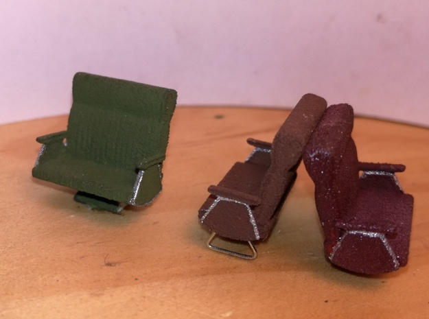 Standard Railcar Seats S Scale in White Strong & Flexible