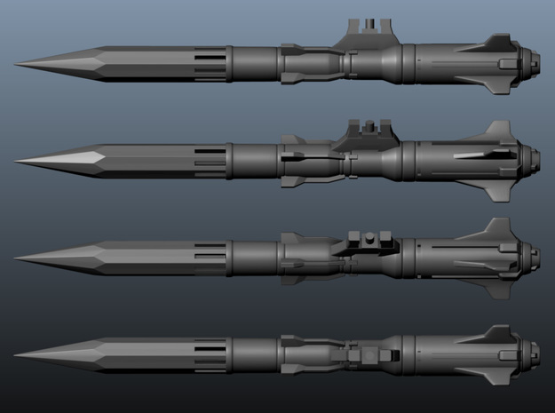 'Anti-Vajra' Missile x4 - BANDAI in Smooth Fine Detail Plastic