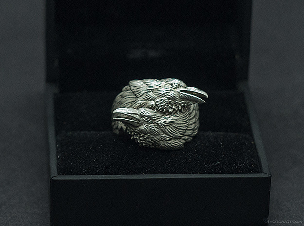 Two Ravens Ring 3d printed Polished silver. The box is not included