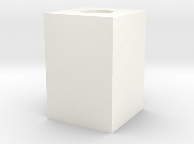 Cubo 2 (mas Holgado) in White Processed Versatile Plastic