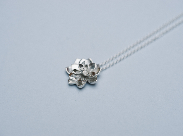 Succulent Pendant in Polished Silver