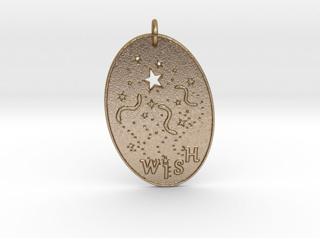 Shooting Stars Wish 1 Pendant by Gabrielle in Polished Gold Steel