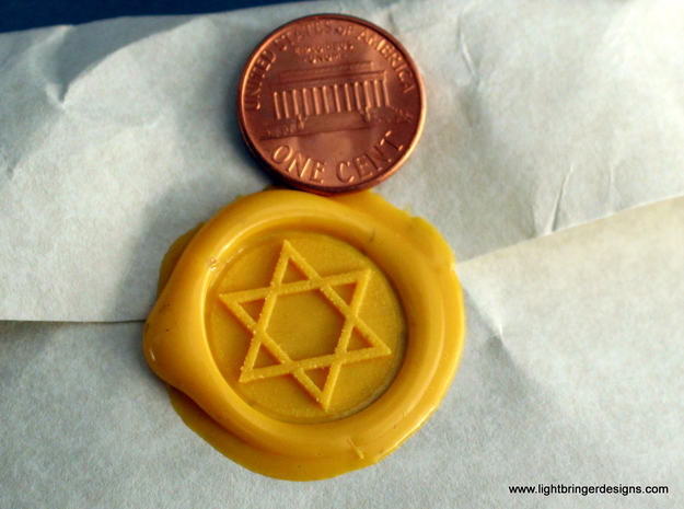 Star of David Wax Seal 3d printed Just the impression of the Star of David wax seal,  penny for scale