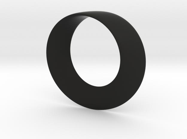 Mobius Strip Pendant in Black Natural Versatile Plastic
