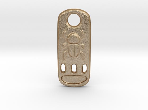 Scarab Cartouche Pendant in Matte Gold Steel