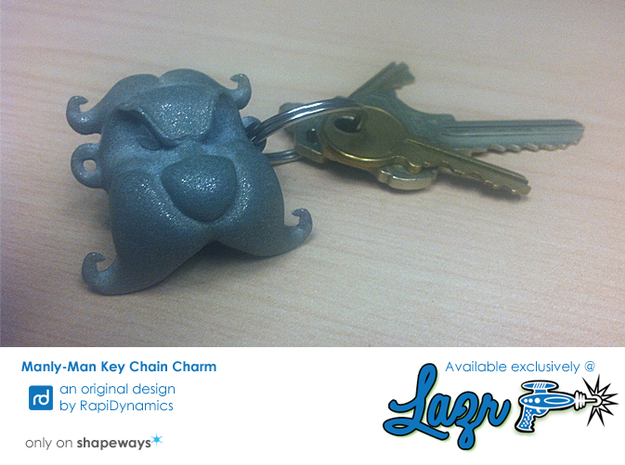 Manly-Man Key Chain Charm 3d printed