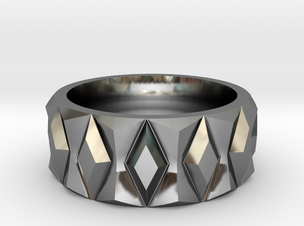 Diamond Ring V2 in Fine Detail Polished Silver