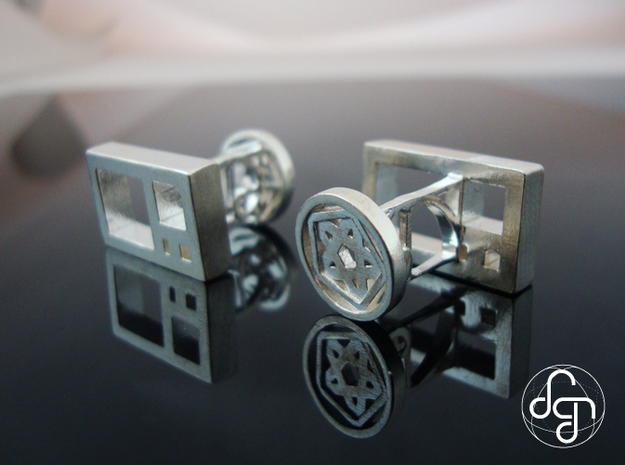 Golden Ratio Cufflinks 3d printed Detail [Polished Silver]