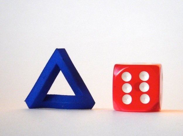 Impossible Triangle, Mini 3d printed Royal Blue Strong and Flexible