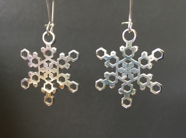 Crystal Snowflake Earrings in Rhodium Plated