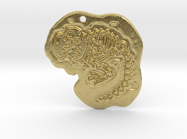 T-rex fossil pendant in Natural Brass