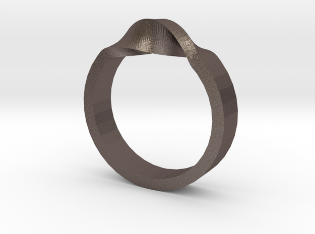 Flex Ring Sizes 6-10 in Polished Bronzed Silver Steel: 6 / 51.5