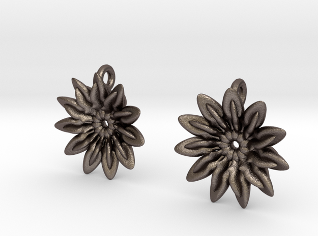 Paddles 11 Points Earrings - wLoopet in Polished Bronzed Silver Steel
