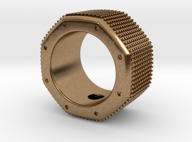 octagon ring with squares Ø17,5mm in Natural Brass
