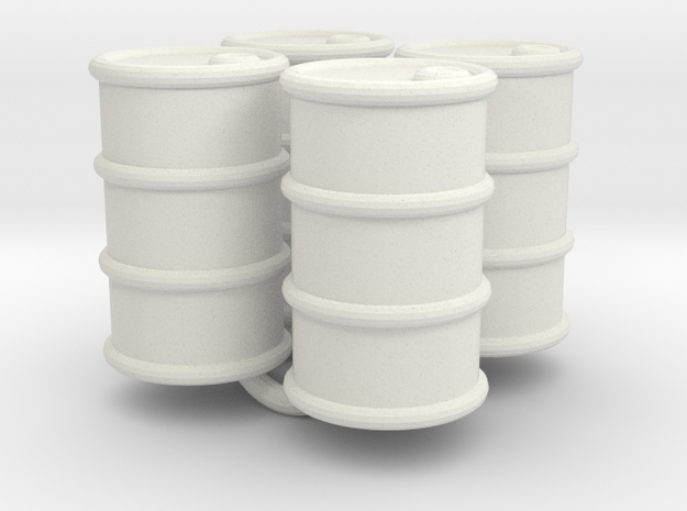 Power Grid Oil Barrels - Set of 4 in White Natural Versatile Plastic