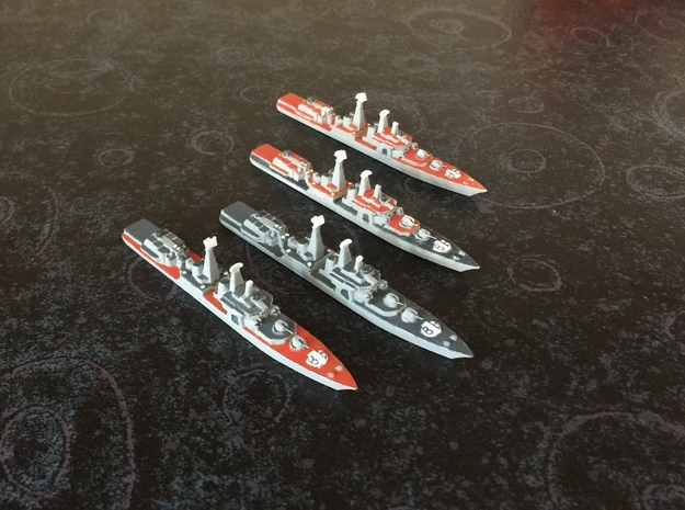 Udaloy I-class destroyer x 4, 1/1800 in White Natural Versatile Plastic