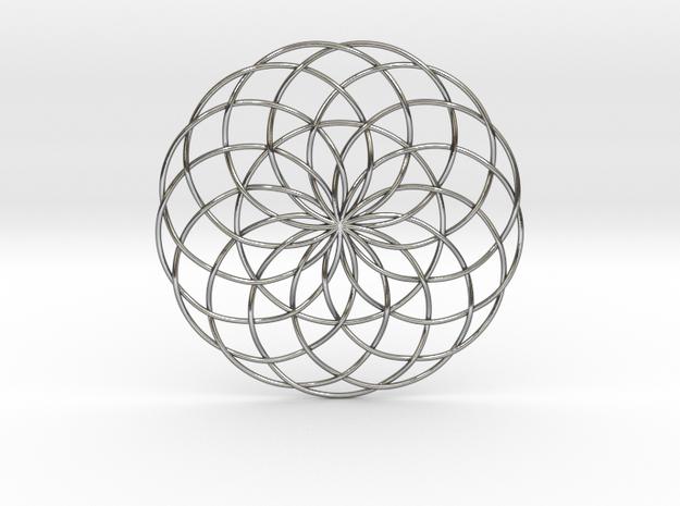 "Moon Flower Pendant v2 2.5"" in Polished Silver"