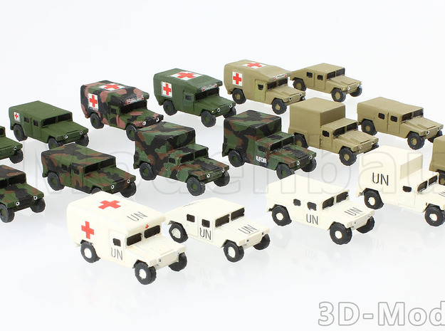 1/200 US Army M998 Canvas Humvee HMMWV Hummer H1 in White Strong & Flexible