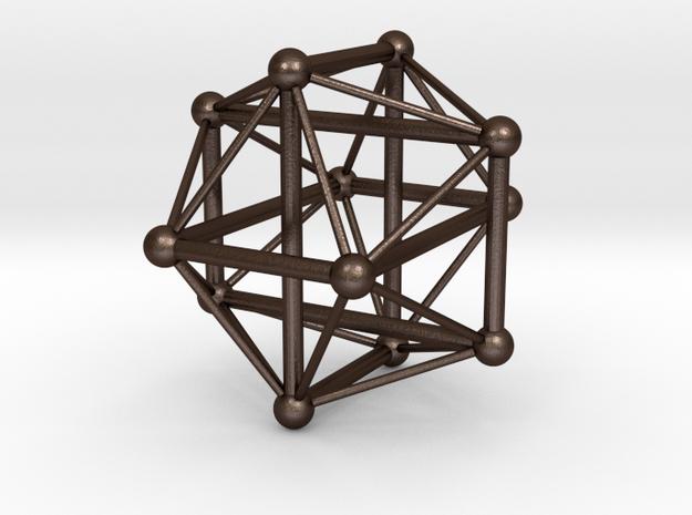 Borromean Icosahedron in Matte Bronze Steel