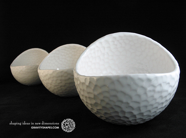 Porcelain Plant-pot in Golfball-Look (small round) in Gloss White Porcelain