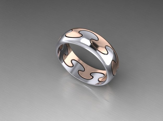 Puzzle ring in Metallic Plastic: Extra Small