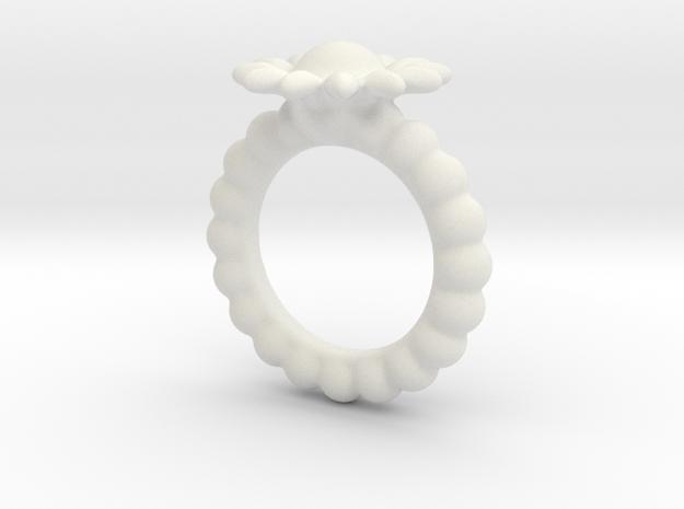 Flower-Ring-by-JamesMason in White Natural Versatile Plastic