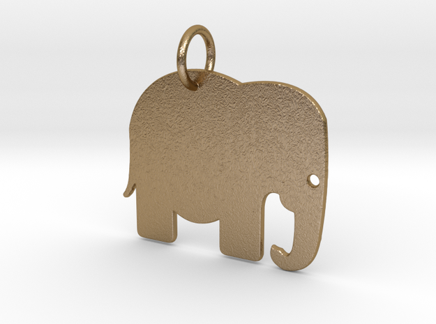 Elephant Keychain in Polished Gold Steel