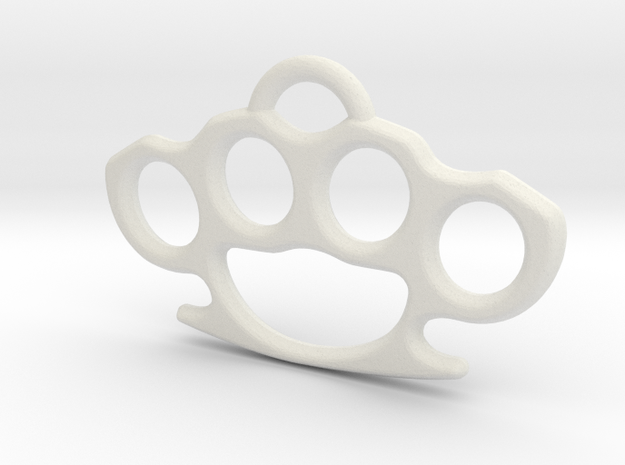 Brass knuckle Pendant in White Natural Versatile Plastic