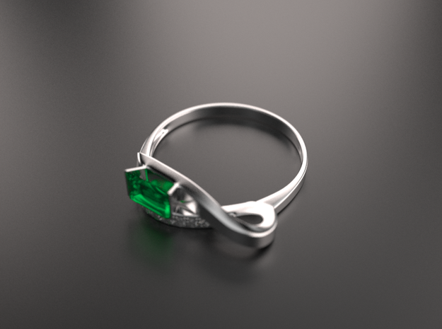 Ring with emerald-type gem 3d printed Beautiful ring with emerald-type gem