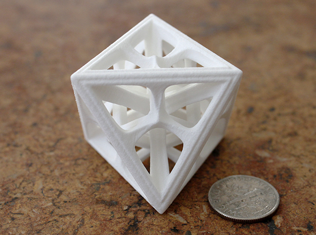Octahedron in White Processed Versatile Plastic: Medium