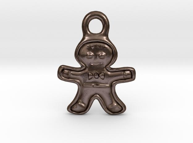 Gingerbread Man Pendant in Polished Bronze Steel