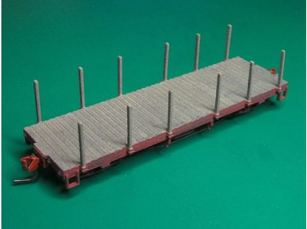 HOn3 25 foot Flatcar with stakes (plus) 3d printed