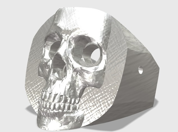Skull Ring in White Processed Versatile Plastic: Medium