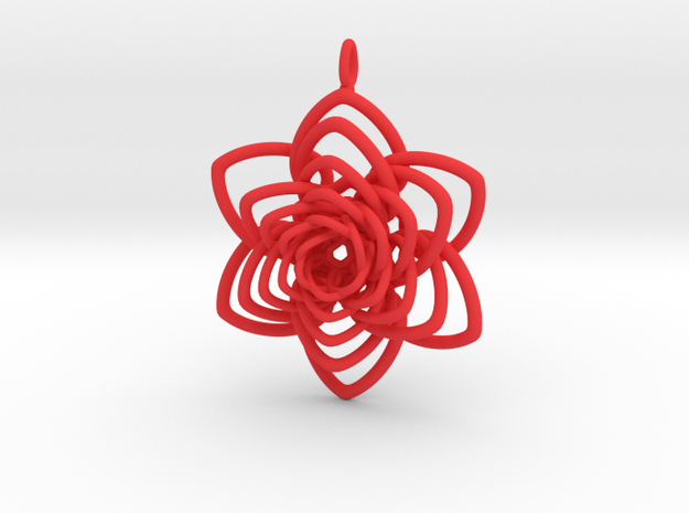 Heart Petals 6 Points Spiral - 5cm - wLoopet in Red Strong & Flexible Polished