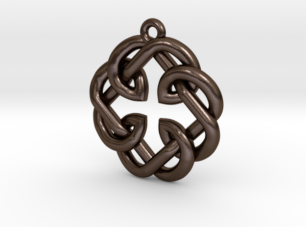 Fatherhood Knot Pendant in Polished Bronze Steel: Small